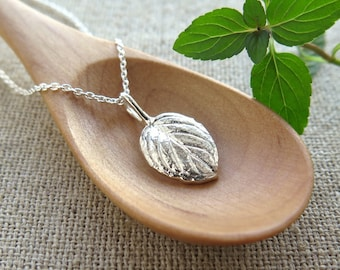 Candy Mint Leaf Pendant - Pure Silver Real Leaf Pendant, Herb Jewelry