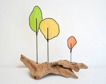 Driftwood Wire Tree Sculpture - Nature Art - Modern Abstract - Orange Green Yellow