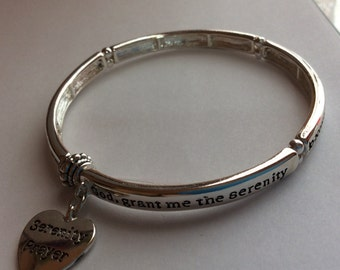 Serenity Prayer Stretch Bangle Bracelet