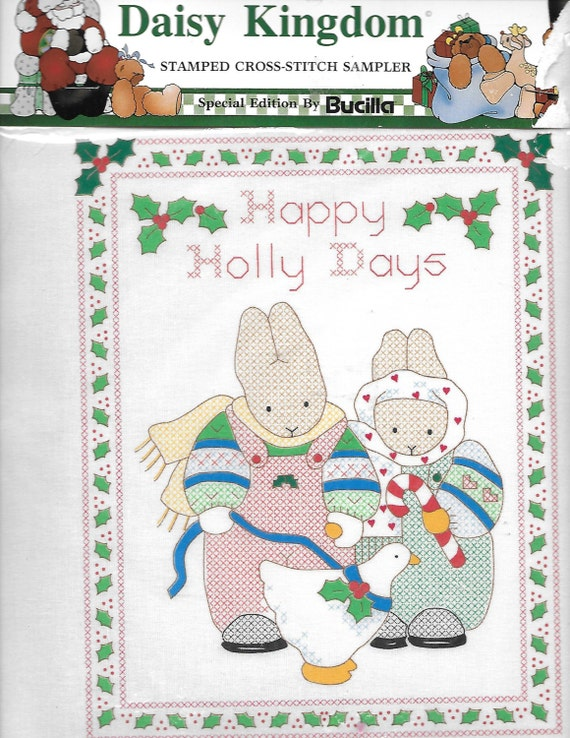 Puppy Bows ~ craft Buscilla Daisy Kingdom stamped cross stitch sampler 63446 Christmas bunny rabbit Holly days