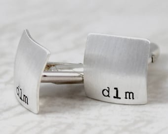 Inspirational, Sterling silver cufflinks, initial square cufflinks, personalized cuff links, mens personalized cufflinks