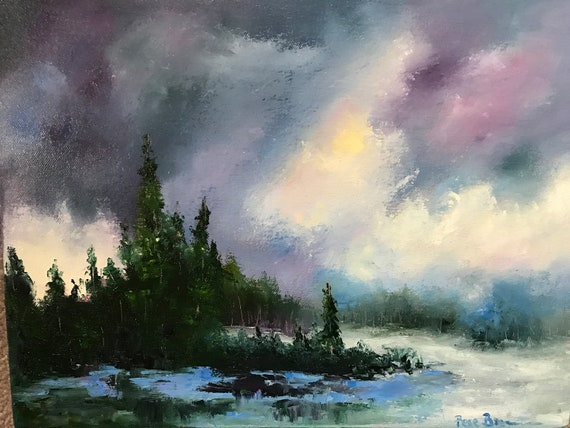 Sky Painting, Winter Art, Landscape Painting, Vacation Painting,  Cloud painting