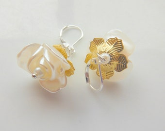 White Rose Lucite Flowers Earrings with Sterling Silver Lever Back