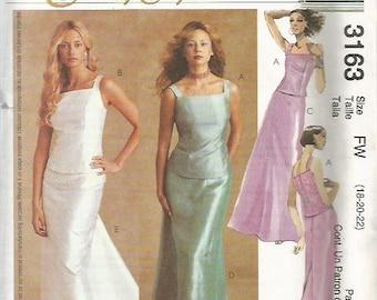 McCalls 3163 Evening Elegance Skirt & Top  Pattern SZ 18-22