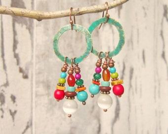 Multi Stone Earrings. Multi Color Semi Precious Stone Cluster Earrings. Verdigris Dangle Earrings. Rustic Colorful Earrings.Colorful Jewelry