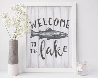 Welcome to the Lake Sign, Lakehouse Decor, Lake Print, Lake Wall Art, Cabin Decor, Cottage Chic, Printable wall Art, Vacation Home PRint