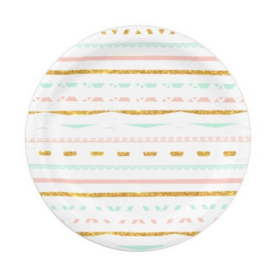 sc 1 st  Etsy & 8 PINK MINT GOLD Green Gold Paper Plates Gold Aztec Tribal