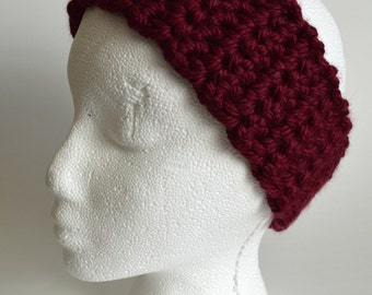 Burgundy Headband, Chunky Ear Warmer, Crochet, Knit, Head Warmer, Head Wrap, Winter Headband, Women's Headband, Maroon, Crimson, Earwarmer