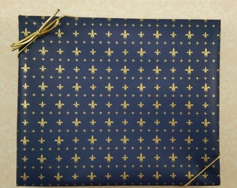 GIFT WRAP Add-On* -- Gift-Wrapped For You!!! Choose Metallic Bow or Stretch-Loop Bow, Gold Fleur De Lis on Navy Blue Background