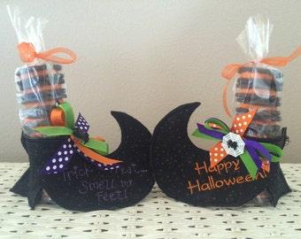 Halloween witch's shoe treat holder