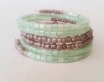 Mint green and Grey glass bead memory wire bracelet
