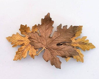 Leaves Hair Barrette in golds and bronze, Woodland Hair Barrette