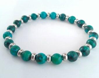 Aqua Blue Stone and Silver Bracelet - Stretchy Stone bracelet - Blue and silver bracelet