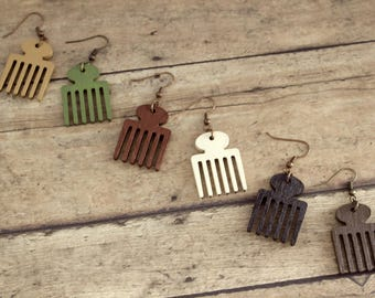 Small Afro Pick Hand Painted Laser Cut Wood Earrings