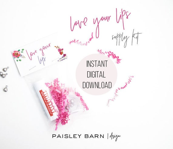 INSTANT DOWNLOAD  Love Your Lips Kit Toppers | skincare, lip serum, gold, heart, lips, business card, R+F, marketing