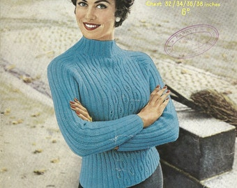 Sirdar 1624 Vintage Knitting Pattern Original Ladies Pullover Sweater With Cables and Mock Turtleneck