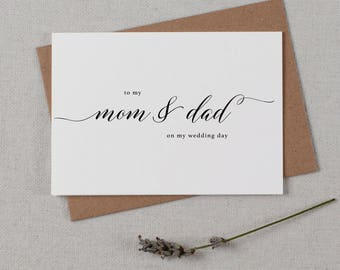 Wedding Card To My Mom + Dad On My Wedding Day, To My Father Wedding Card, To My Mom Card, To My Dad, Parents Wedding Card, Wedding Note, K2