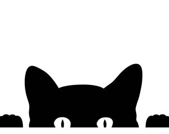 Peeking Cat Kitten Vinyl Decal Sticker - proceeds go to our kitty's vet bill!