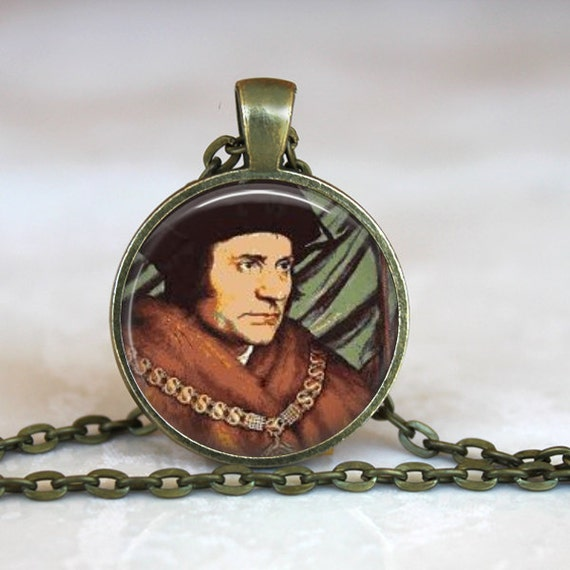 Saint Thomas More Pendant with 24 inch chain - Patron of Lawyers, Politicians, Difficult Marriages, Religious Freedom