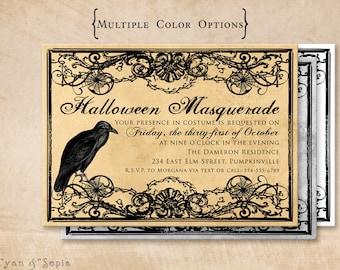 Printable Halloween Party Invitation - 5x7 - Gothic Crow - Vintage Antique Old Creepy Party Masquerade Spiderweb Haunted