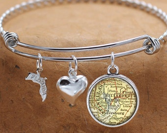 Tampa Florida Map FL State Charm Bangle Bracelet Personalized Custom Vintage Map Jewelry Stainless Steel Bracelet