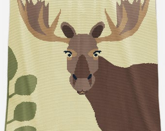 CROCHET Blanket Pattern - Crochet Lap Blanket / Throw - Moose Blanket Pattern  - Crochet Afghan Pattern - Crochet Graph - Moose Afghan