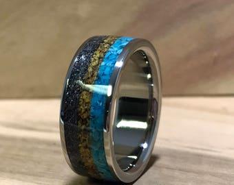 Titanium Ring, Turquoise Ring, Meteorite Ring, Dinosaur Bone Ring, Mens Wedding  Ring, Handmade Ring, Blue Ring, Mens Ring