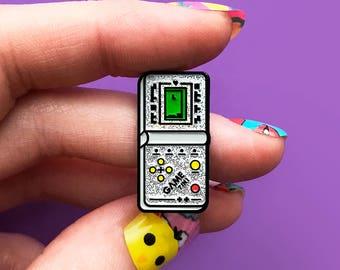 Tetris, enamel pin, silver glitter