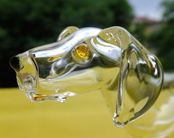 Bubago glass dog with golden eyes