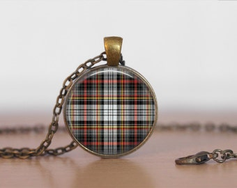 DOUGLAS TARTAN Pendant Necklace / Scottish Tartan Jewelry / Ancestral Jewellery / Douglas Clan /  Family Jewelry / Personalized Gift / boxed