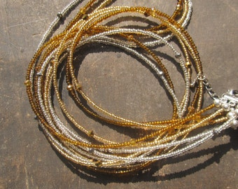 Custom made set of 3 strands waist beads, gold silver and amber with crystals, read item details and leave size