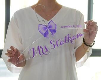 Clear Acrylic Wedding Hanger,  Personalized Wedding Dress Hanger, Bridal Hanger, Unique Bridal Shower Gift, Bride Name Hanger TM003