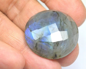 28mm round blue Labradorite cabochon faceted checker cut 28mm by 9mm 49ct