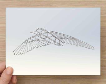 Ink Sketch of Bird Metal Sculpture - Drawing, Art, Kinetic, Fly, Wings , Sculpture, Pen and Ink, 5x7, 8x10, Print
