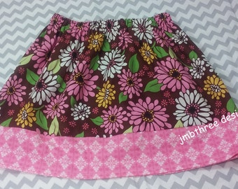 SUMMER SALE Brown Flowers skirt size 7y.  Ready to Ship