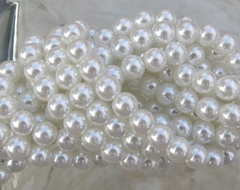 6mm White Colored Pearl Strand 16in. (i121)