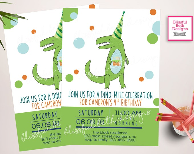 Dinosaur Invitations, Dinosaur Birthday Invitations, Dinosaur Party Invitation - Dino Party Invitations, Cake-o-saurus, Dinosaur Birthday