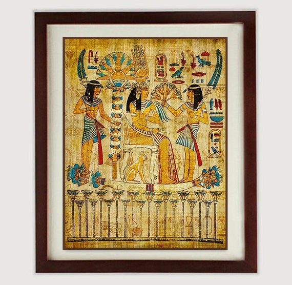Ancient Egypt Wall Art Print Parchment Paper Old Antique Style