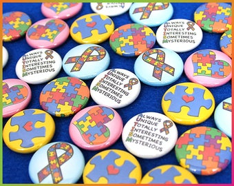 """30 Autism Awareness Pins, Magnets, or Flatbacks! Hearts, Ribbons, Jigsaw Puzzle Pieces, Acronym. Blue & Colors. 1"""" Mini Buttons. (N002)"""