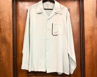 Vintage 1950's Mint Green x Black Detail Rayon Shirt XL