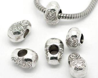 Pearl matryoshka chiseled silver metal (x 2)
