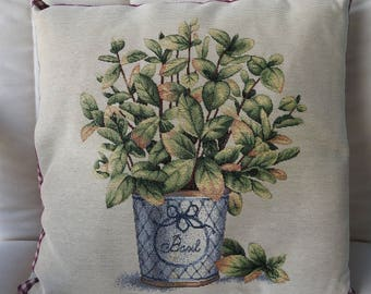 Handmade Basil Tapestry Cushion Cover - Free Shipping