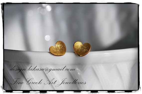 Heart Stud Earrings Sterling Silver Gold plated Jewellery for her birthday anniversary gifts Lakasa Valentine friendship woman girl mother