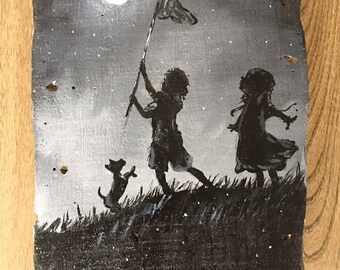 Midnight mischief painting on wood