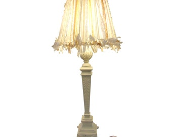 Tall Shabby Chic Table Lamp, Romantic Lace Lampshade With Vintage Metal Lamp  Base