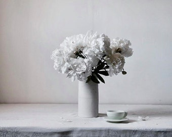 Flower Photography Modern Still Life of White Flowers Spring Still Life No. One