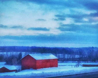 The Red Barn, Photography, Fine Art Photography, Landscape, Country, Winter, Snow