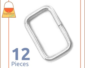 "5/8 Inch Rectangular Wire Rings / Loops, Nickel Finish, 12 Pack, for 1/2"" - 5/8"" Straps, Rectangle, Handbag Purse Hardware, RNG-AA054"