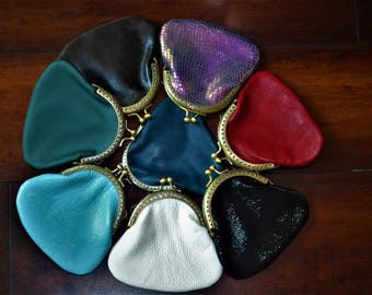Leather Purse. Coin Purse, Genuine Leather,