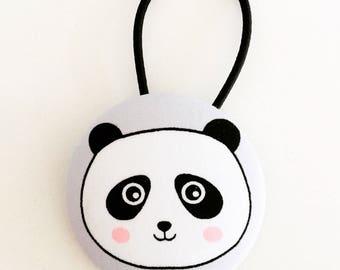 Panda button hair tie